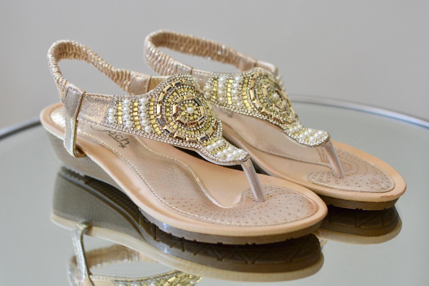 Gold & Silver Beaded Sandals