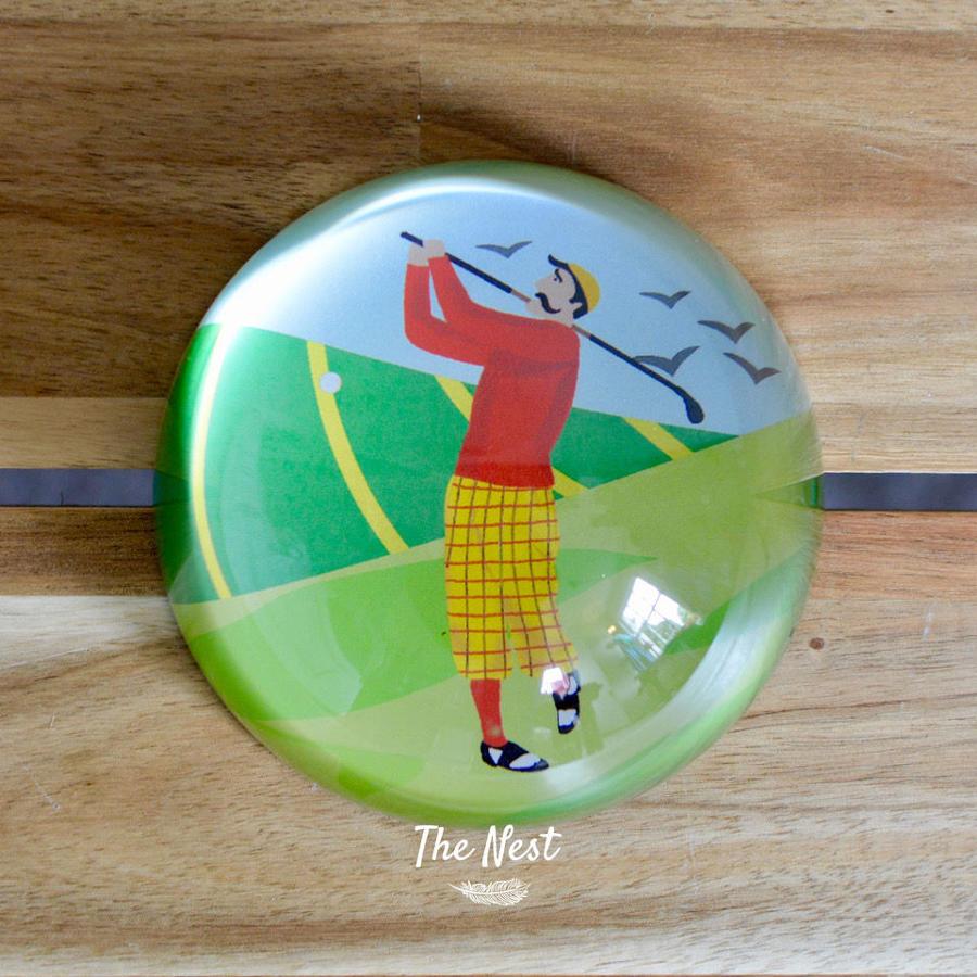 Glass Golfer Paperweight