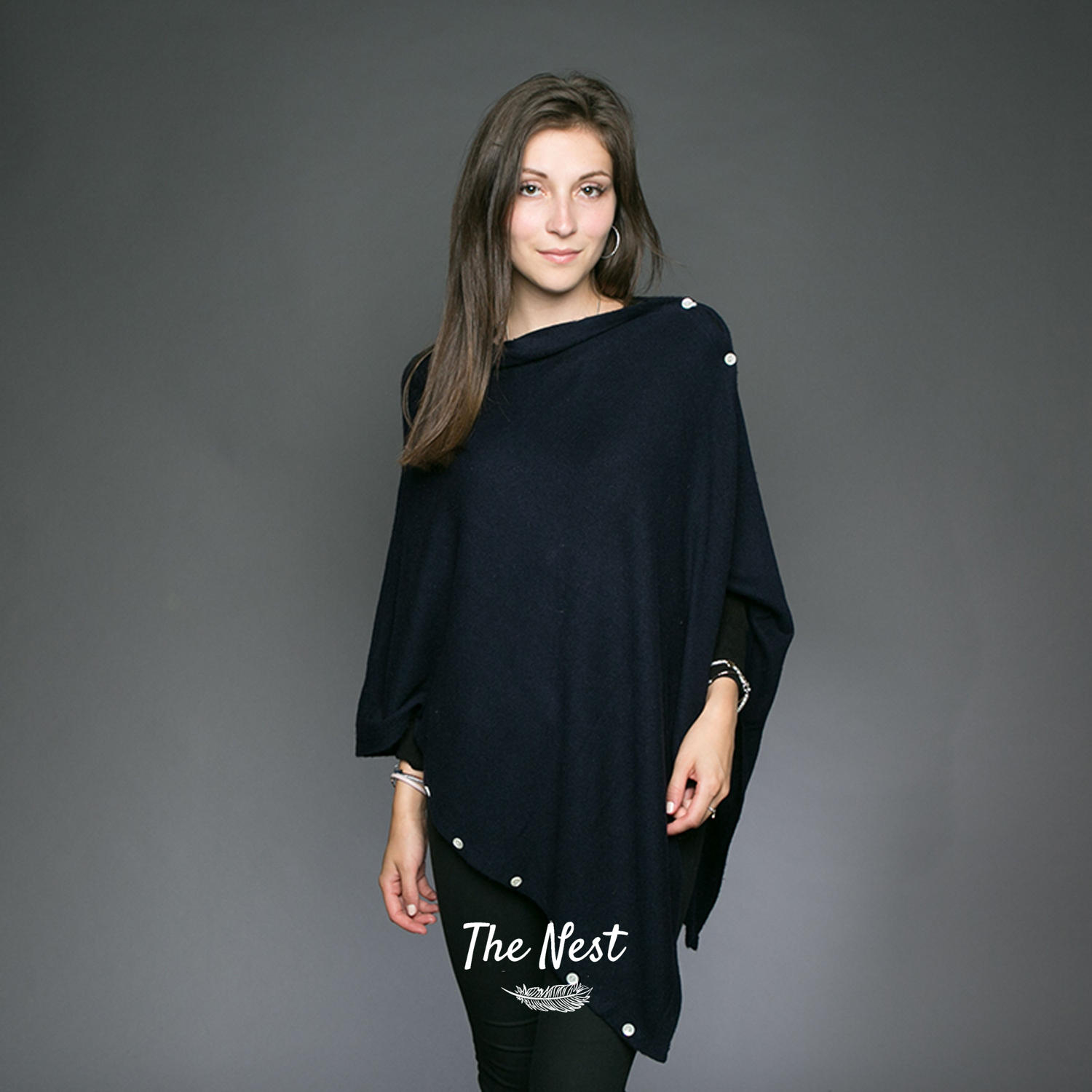 Cashmere Buttoned Poncho - Navy Blue