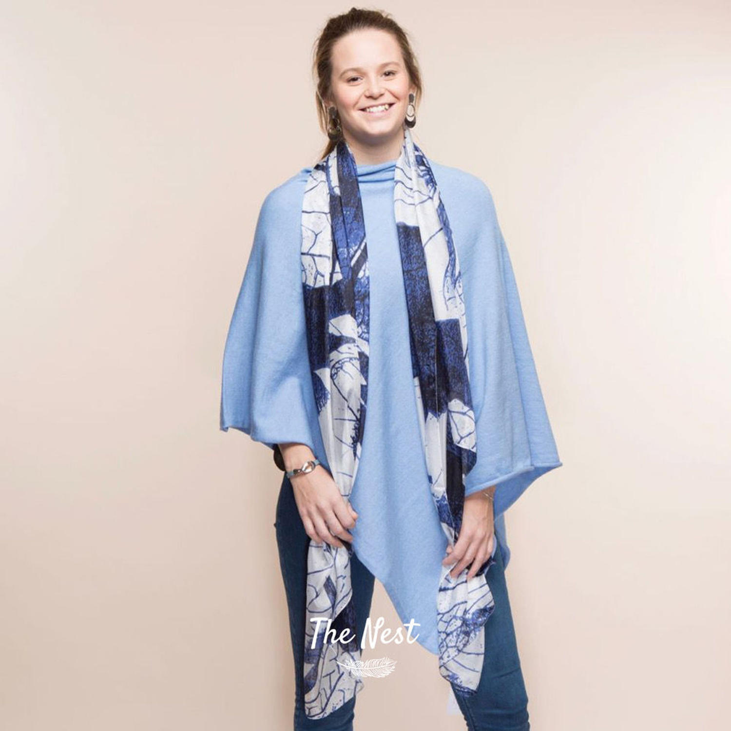Large French Navy and White Silk Scarf