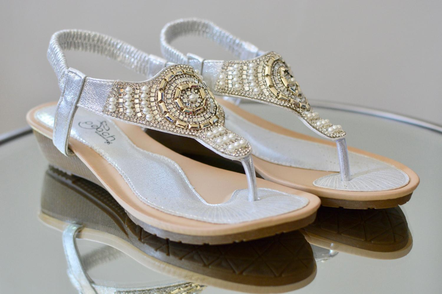 Silver & Gold Beaded Sandals