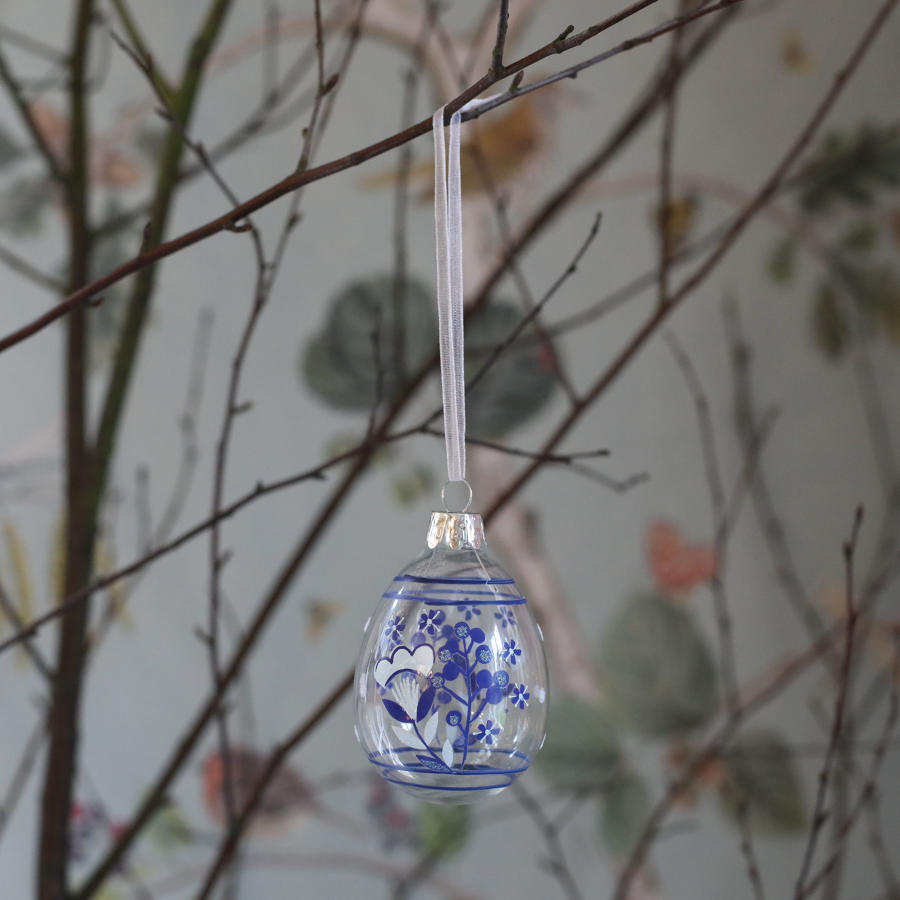 Gisela Graham - Country Folk blue glass Easter decoration