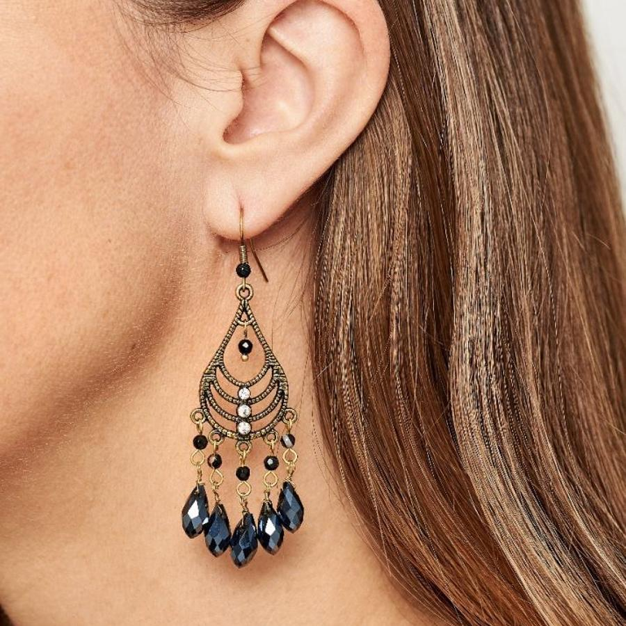 Rosie Fox - Cafe Noir Gold Chandelier Earrings.