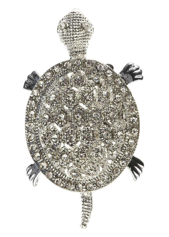 Rosie Fox - Pewter Turtle Crystal Hair Clip & Brooch