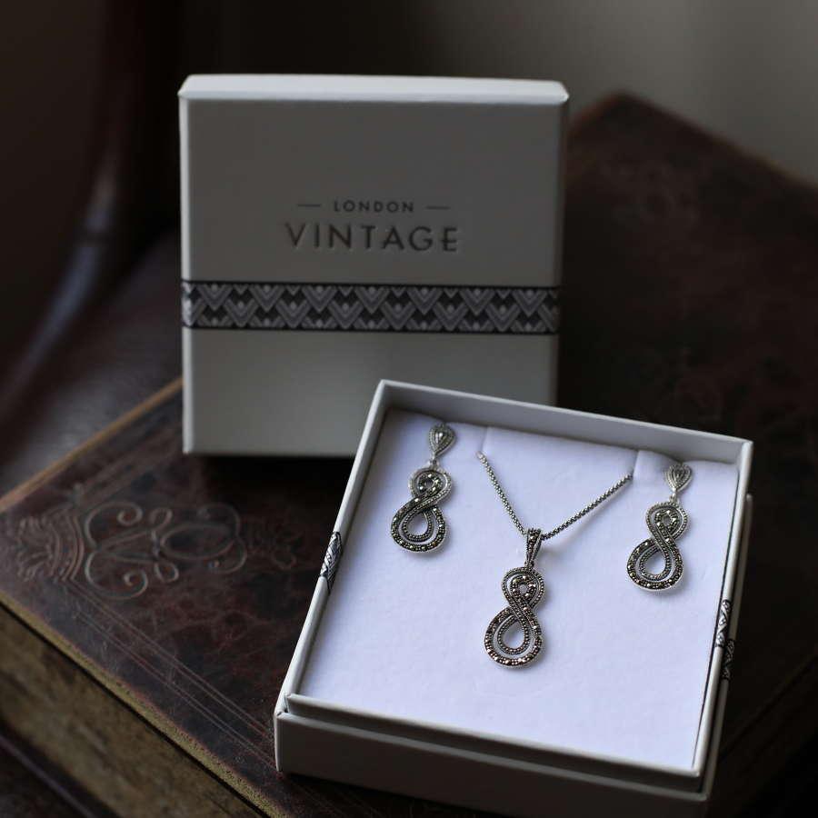 London Vintage - Silver & Marquisite Earring & Pendant Set