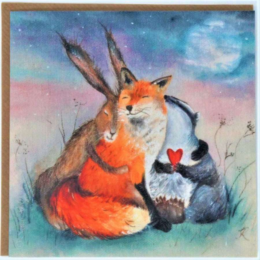 Love Country - Peace & Huggles Card by Sarah Reilly