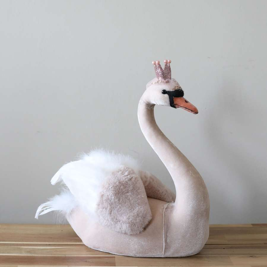 Small Pale Pink - Furry Swan Decoration.