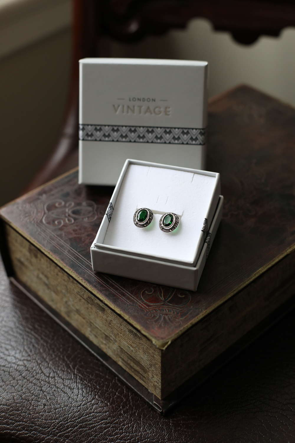 London Vintage - Sterling Silver Marcasite and CZ Emerald Set Earrings