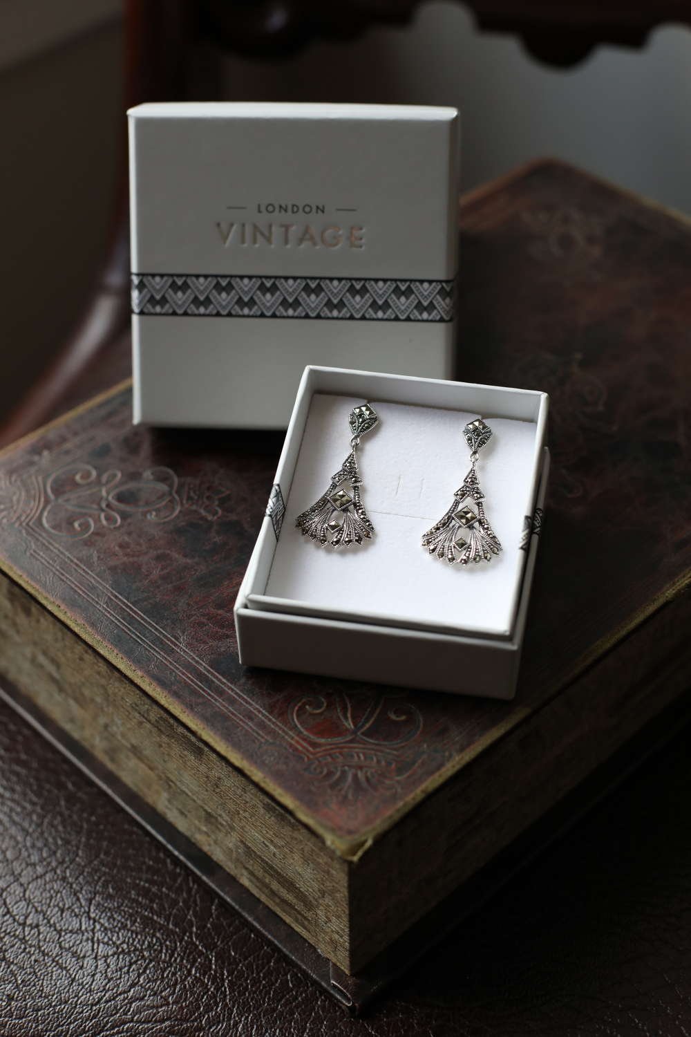 London Vintage - Sterling Silver & Marcasite Earrings