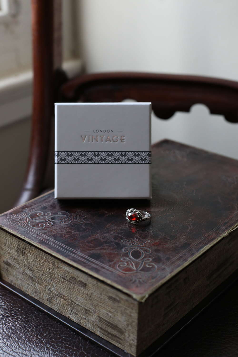 London Vintage - Sterling Silver, Marcasite & CZ Ruby Ring