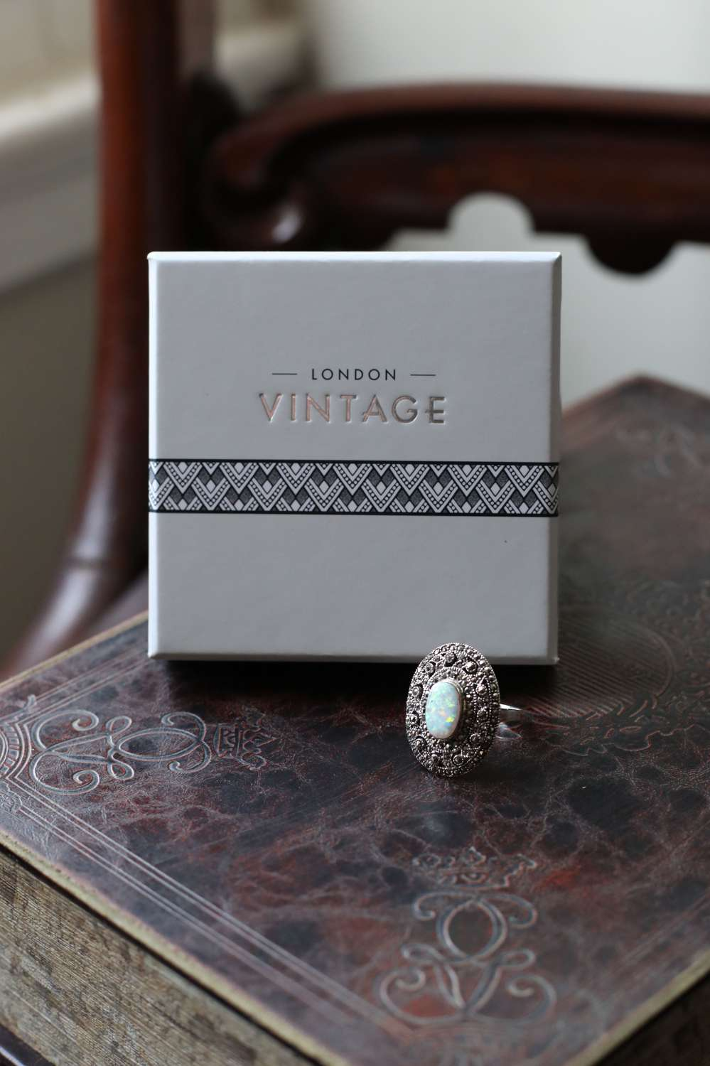 London Vintage - Sterling Silver, Marcasite Ring Set with Opalite.