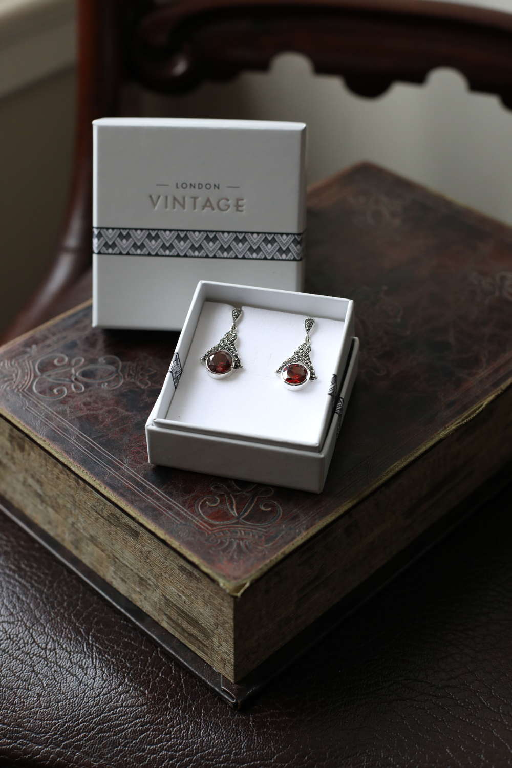 London Vintage - Sterling Silver, Marcasite & CZ Ruby Drop Earrings