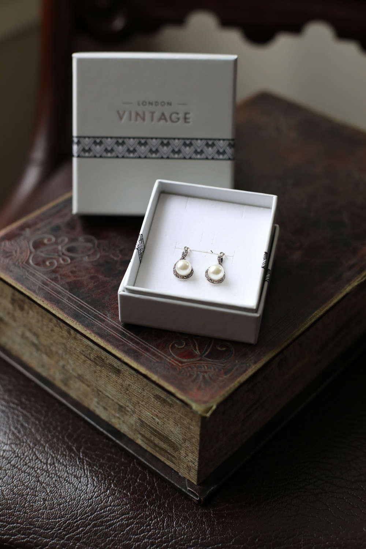London Vintage - Sterling Silver, Marcasite & Pearl Earrings