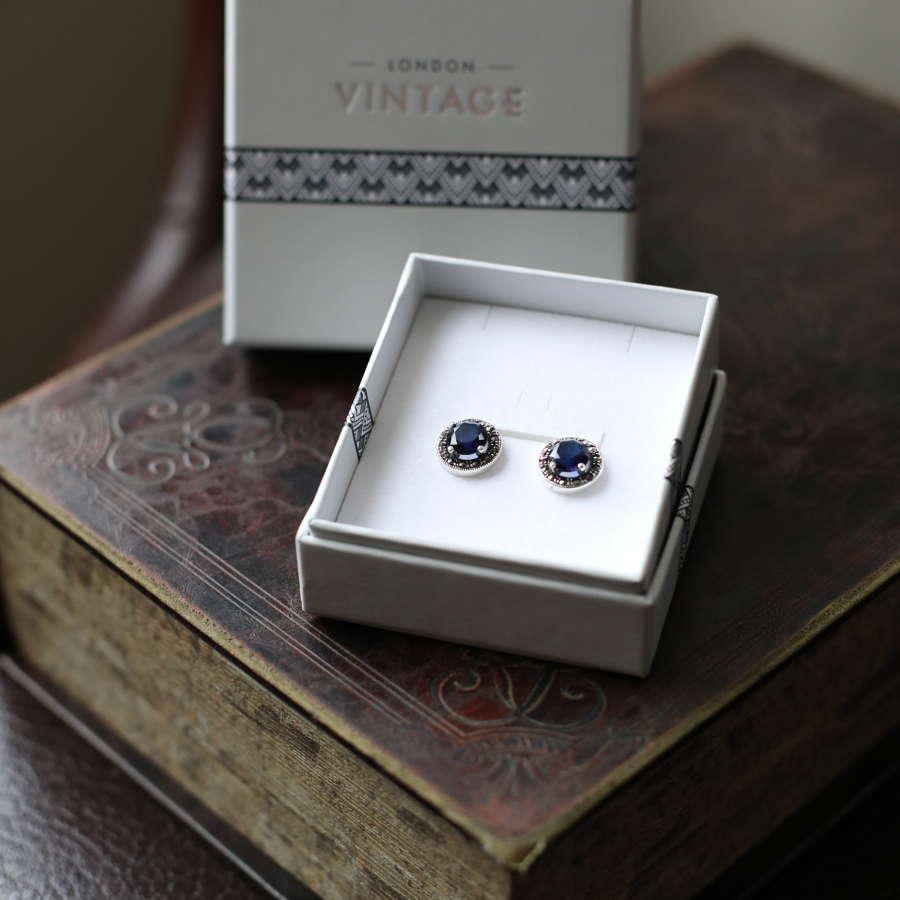 London Vintage - S.Silver, Marcasite & CZ Sapphire Earrings