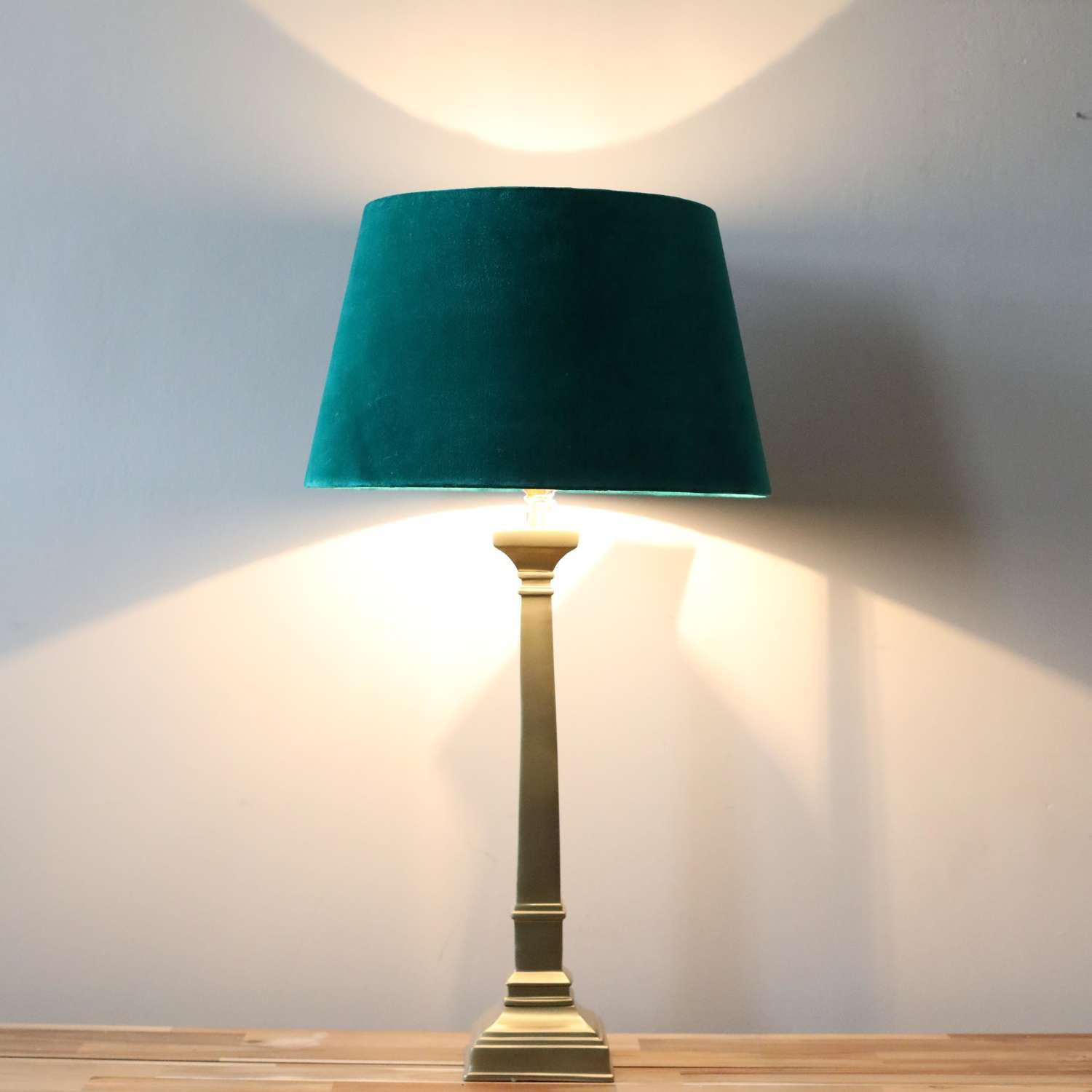 Brass Effect Table Lamp Complete with Green Velvet Shade.