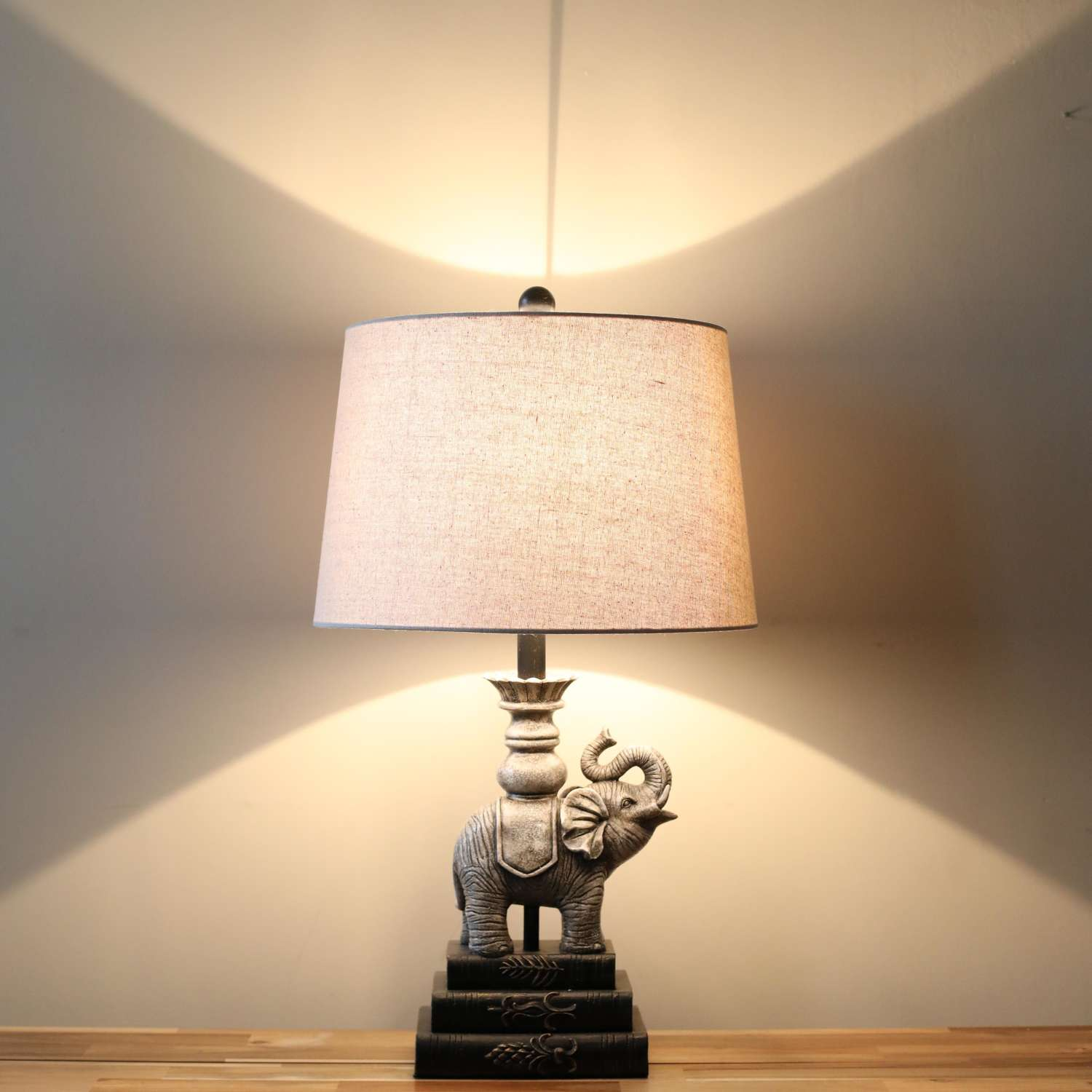 Elephant Table Lamp Complete with Cream Linen Shade.