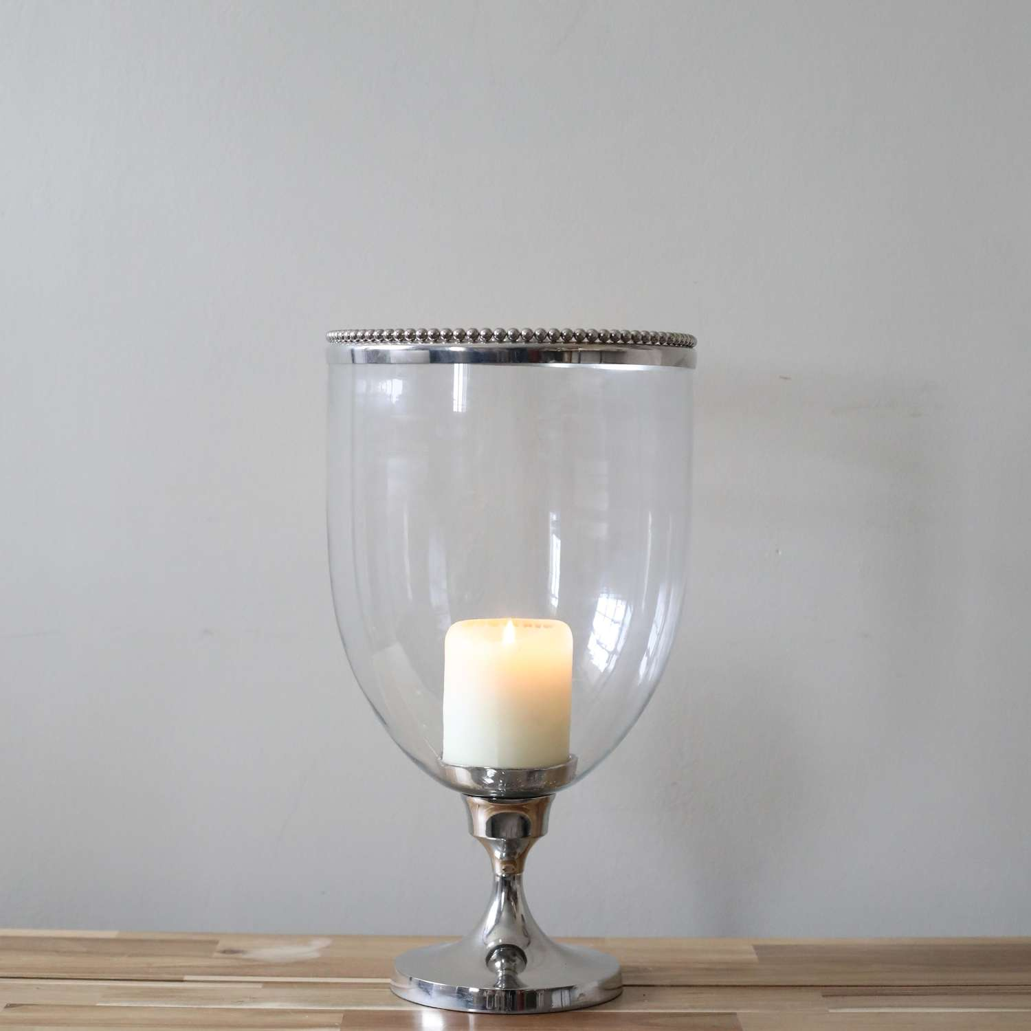 Glass & Chrome Candle Holder