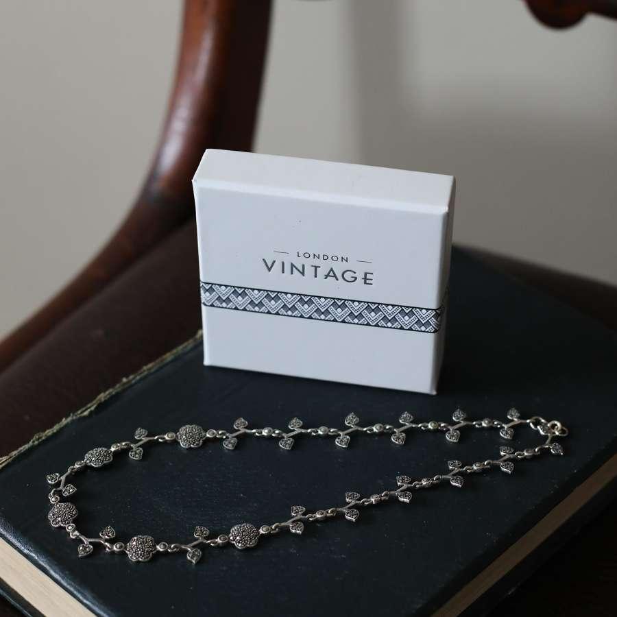 London Vintage S. Silver & Marcasite Flower Necklace