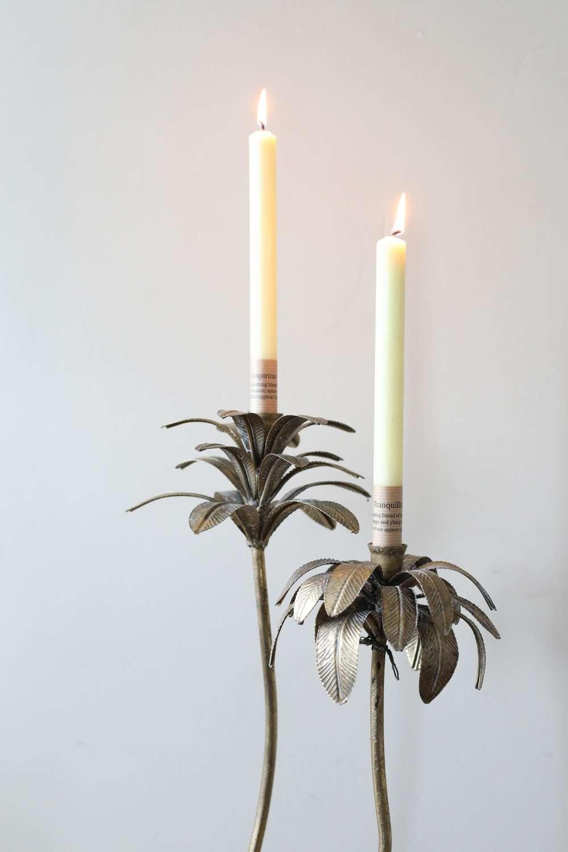 Pair Antique Gold Palm Tree Candlesticks.