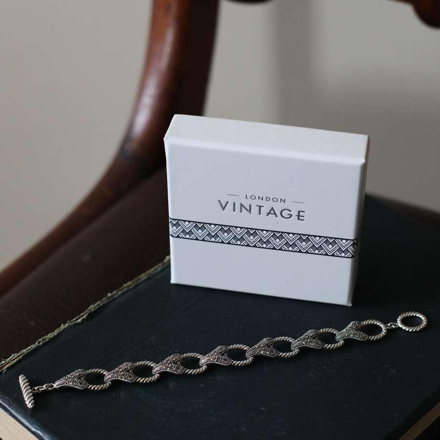 London Vintage - Marcasite & Sterling Silver Bracelet