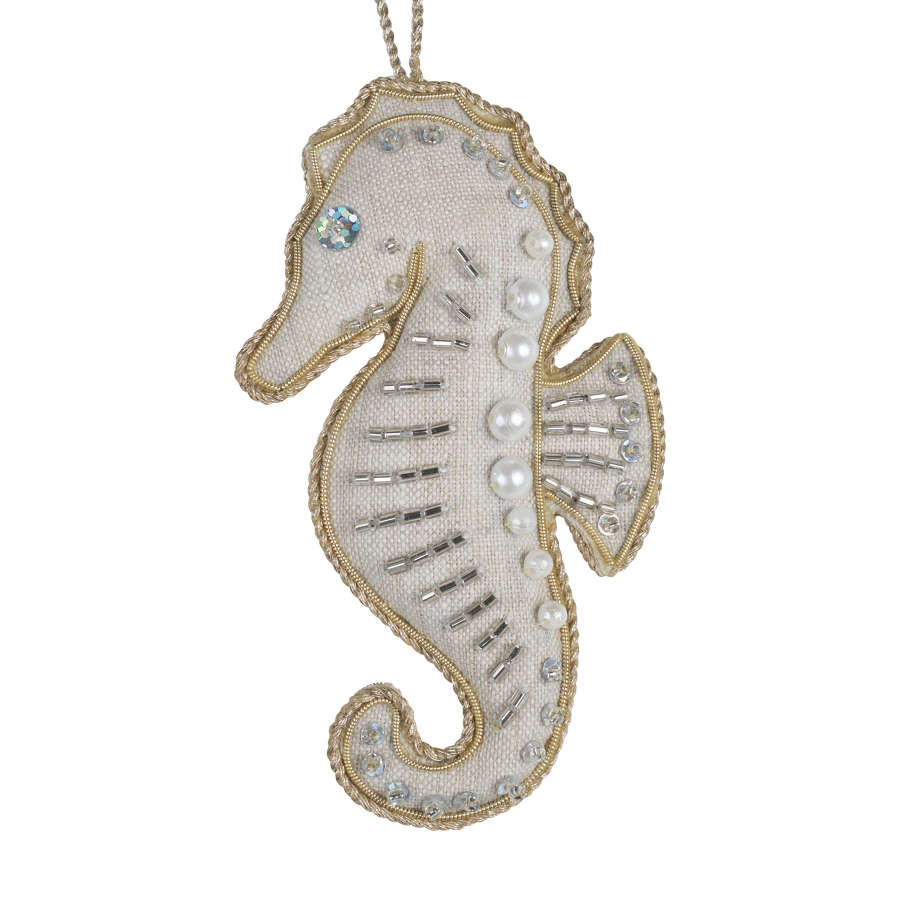 Irish Linen Seahorse Hanging Decoration by Katie Larmour.