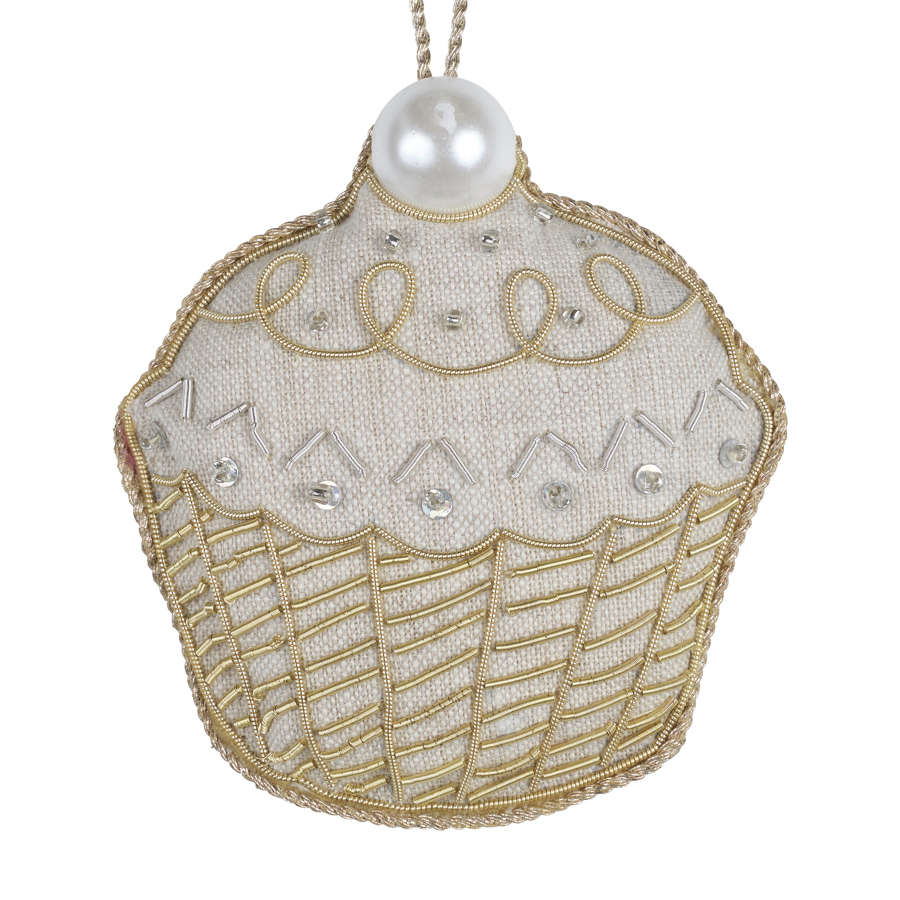 Irish Linen Cupcake Hanging Decoration By Katie Larmour