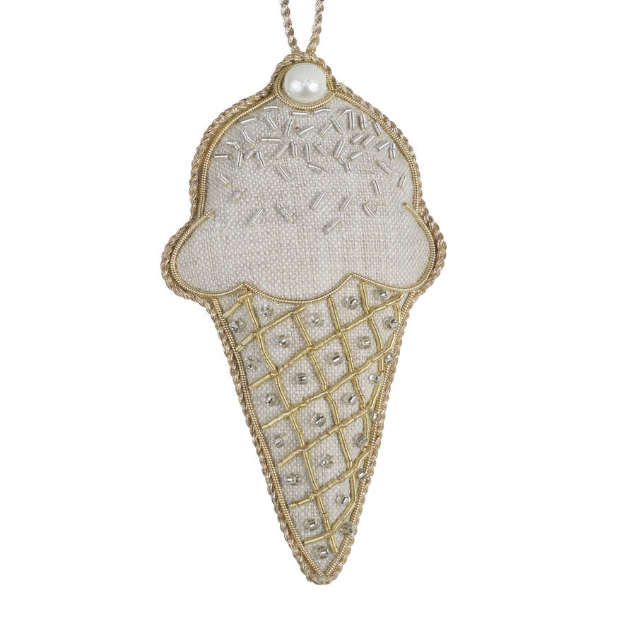 Irish Linen - Ice Cream Cone Hanging Decoration by Katie Larmour.
