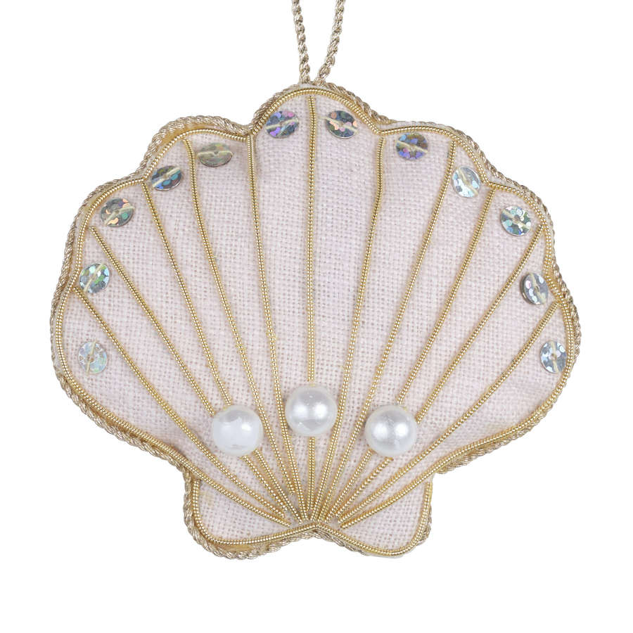 Irish Linen Oyster Shell Ballet Pink Hanging Decoration.