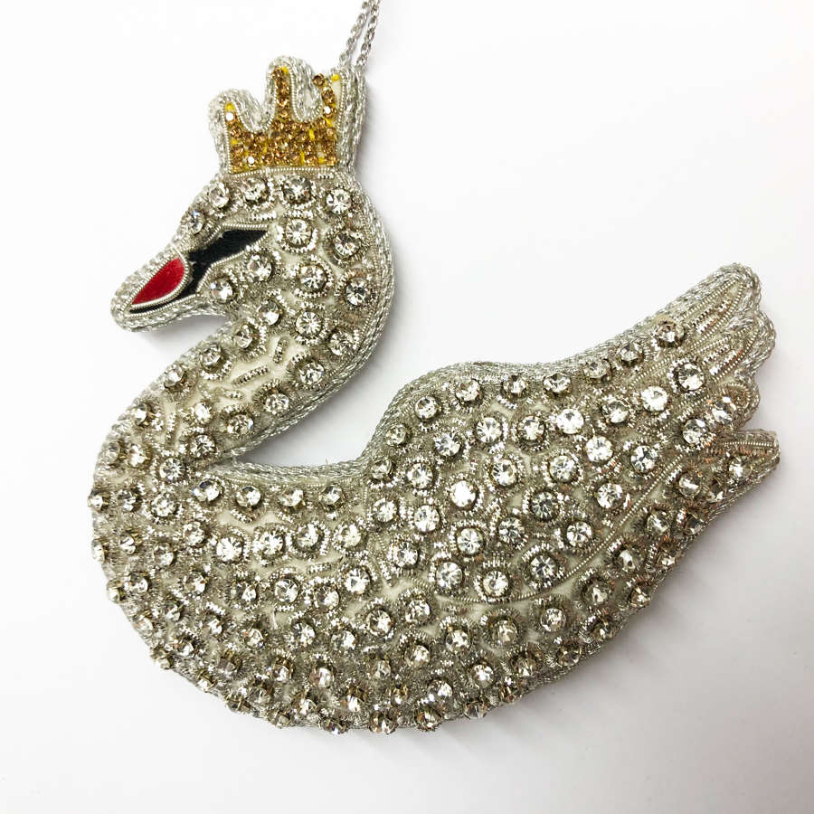 Tinker Tailor London - Crystal Encrusted Swan Decoration