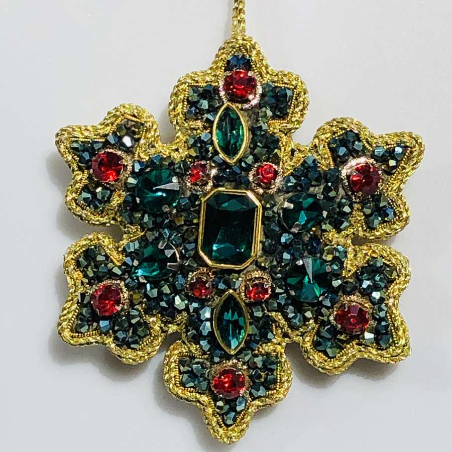 Tinker Tailor London - Emerald Green Crystal Snowflake with Red Gems