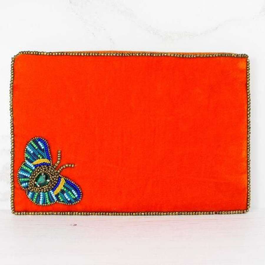 Butterfly Embellished Velvet Purse