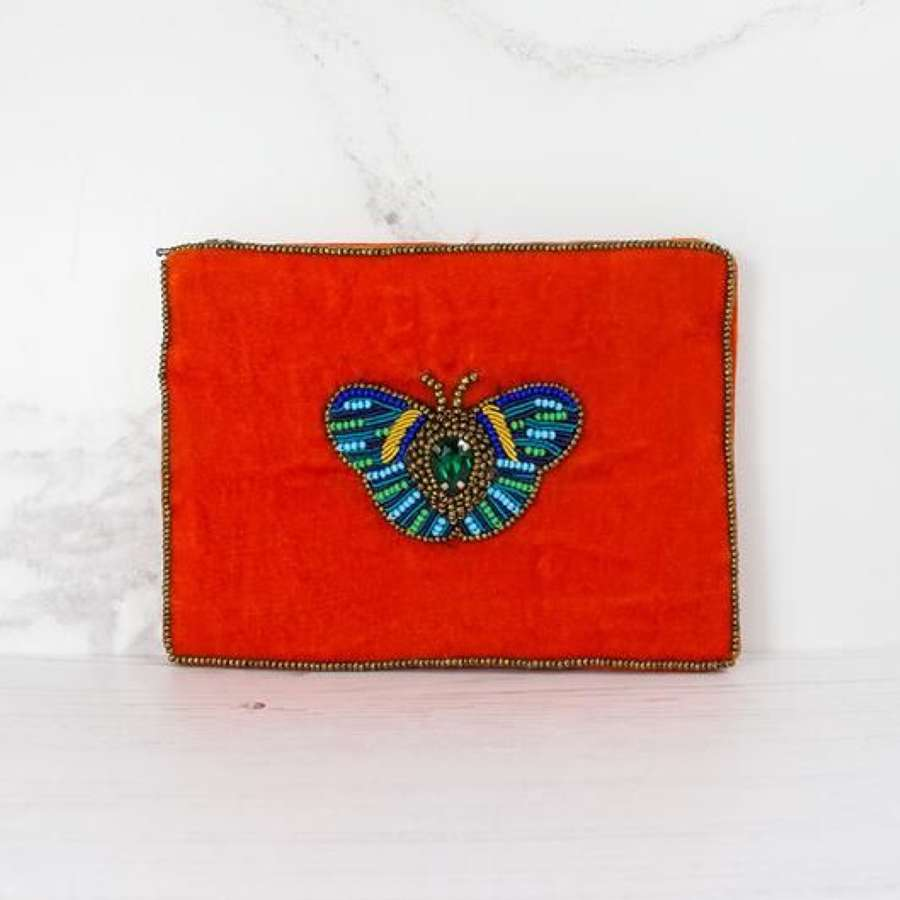 Butterfly Embellished Velvet Purse Small