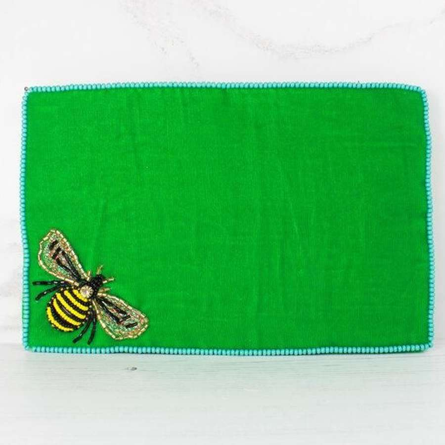 Green Velvet Bee Purse - Large