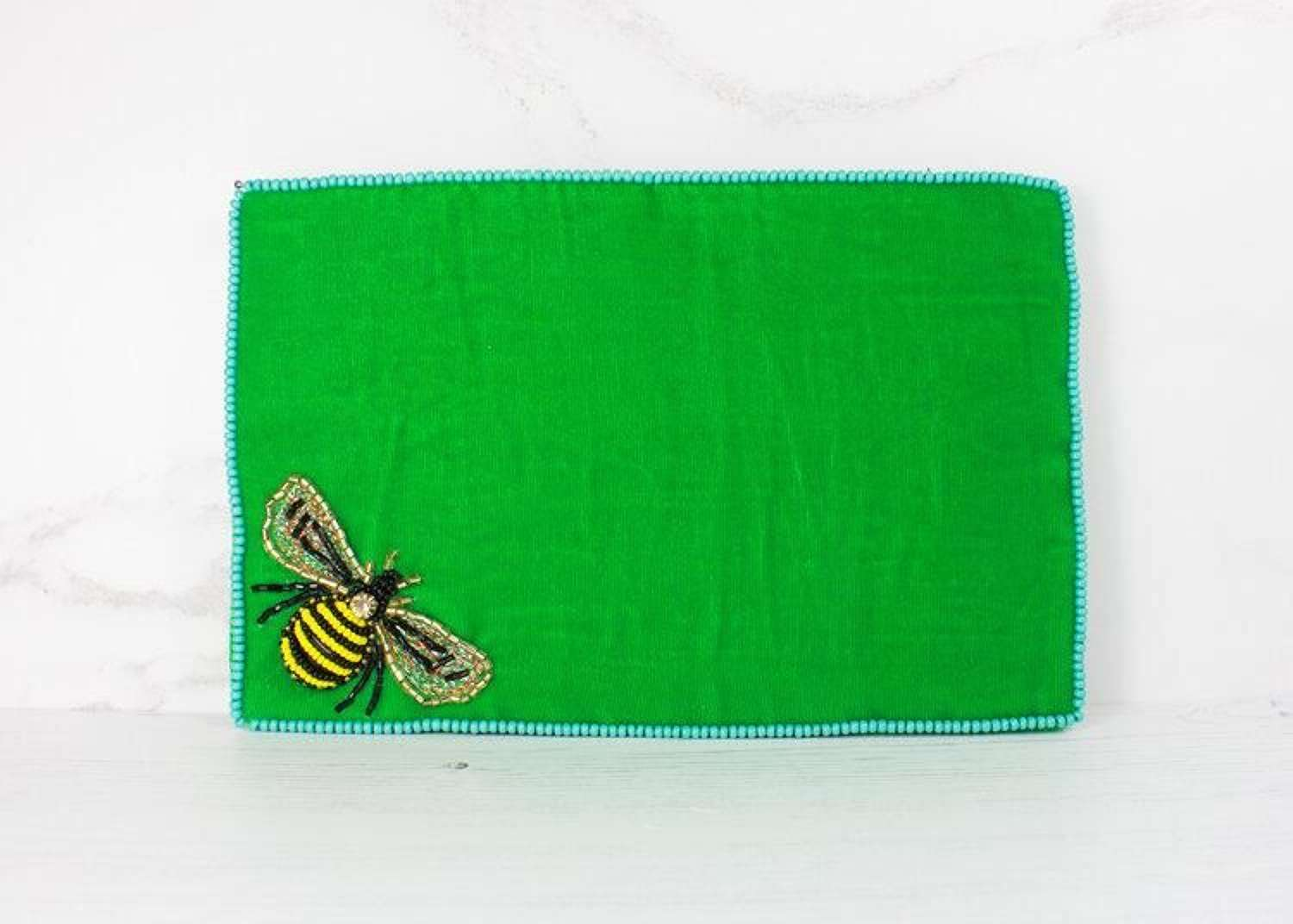 Green Velvet Bee Purse - Large