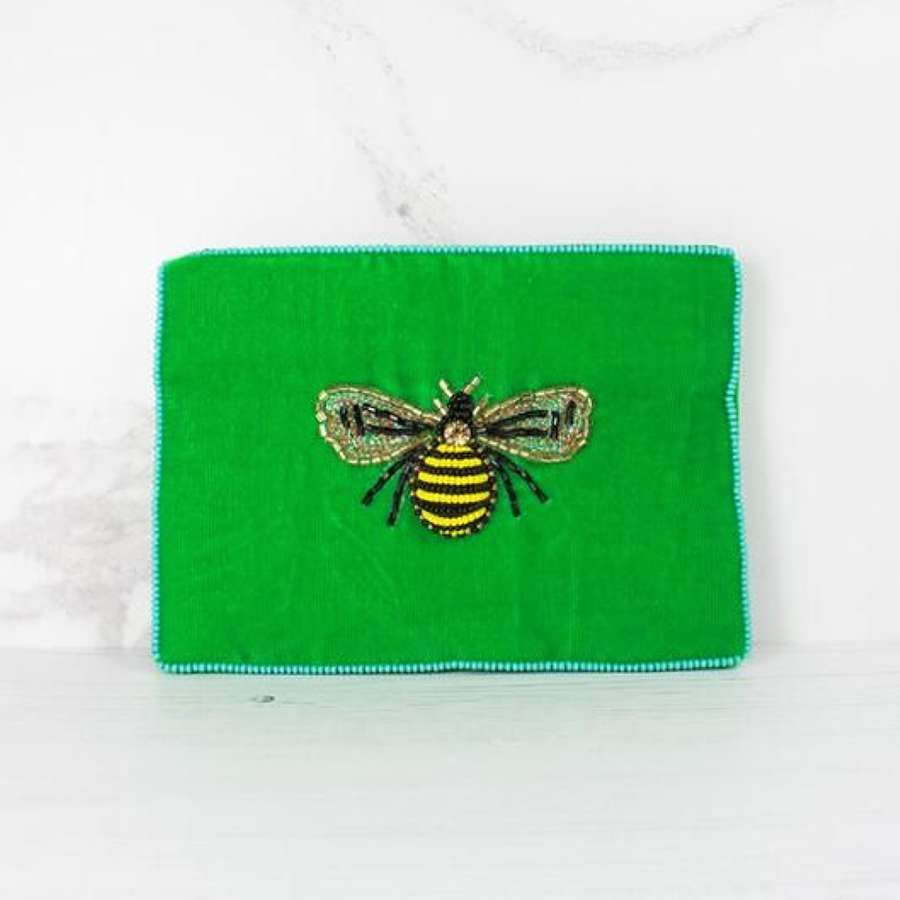 Green Velvet Bee Purse - Small