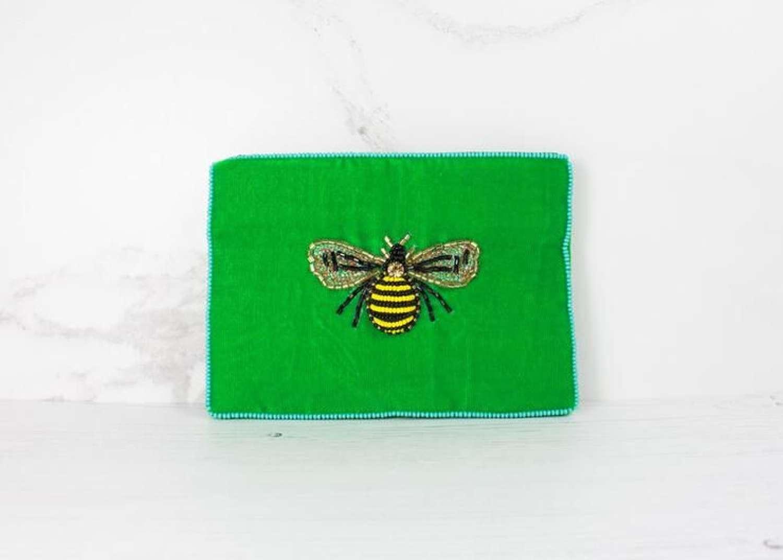 Green Velvet Bee Purse - Small