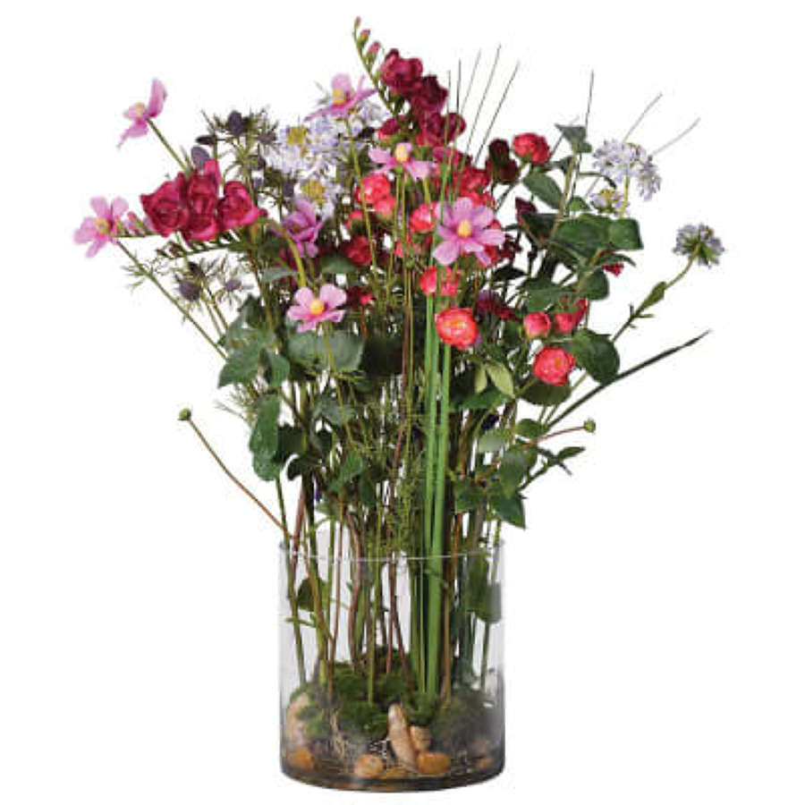 Mixed Garden Flowers Arrangement in Cylindrical Glass