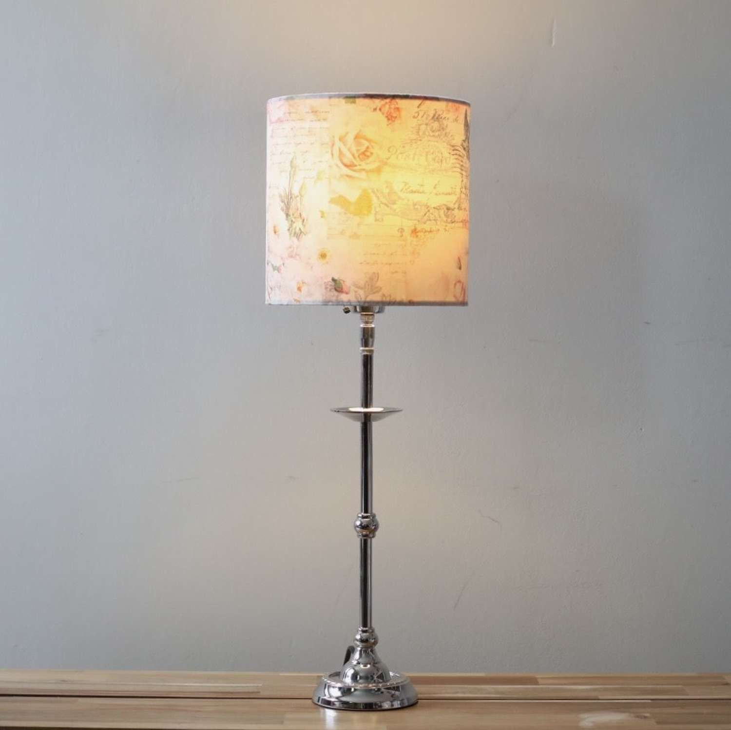 French Style - Pink Velvet Patterned Lampshade and Base
