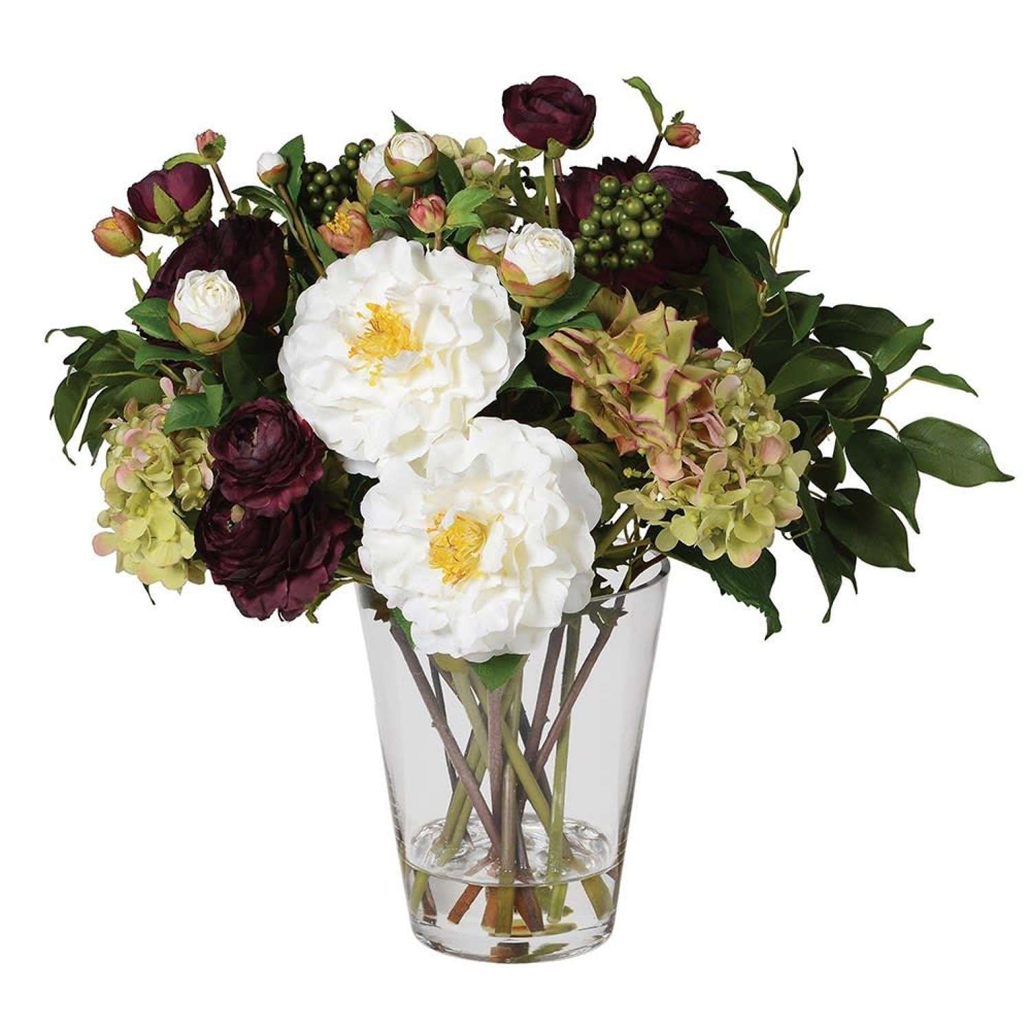 Ruby, White & Greens Floral Arrangement in Glass Vase