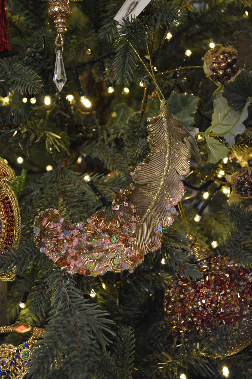Sequinned Feather Ornament