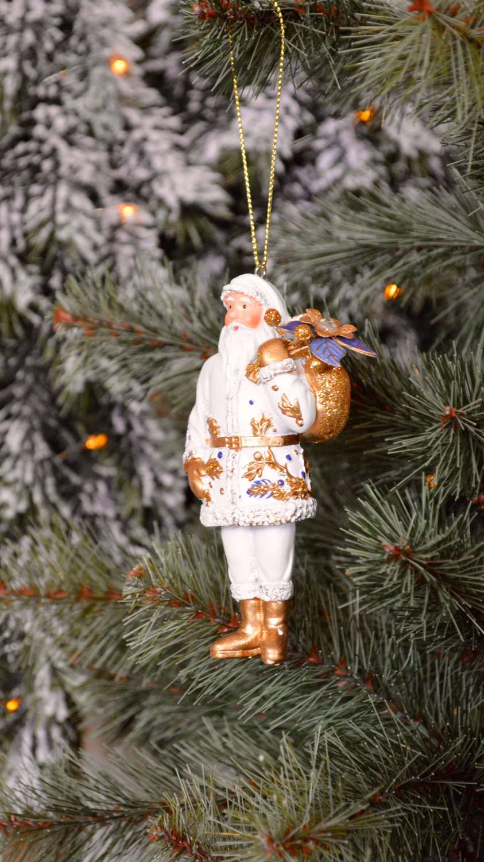 Gisela Graham - White & Gold Santa Decoration