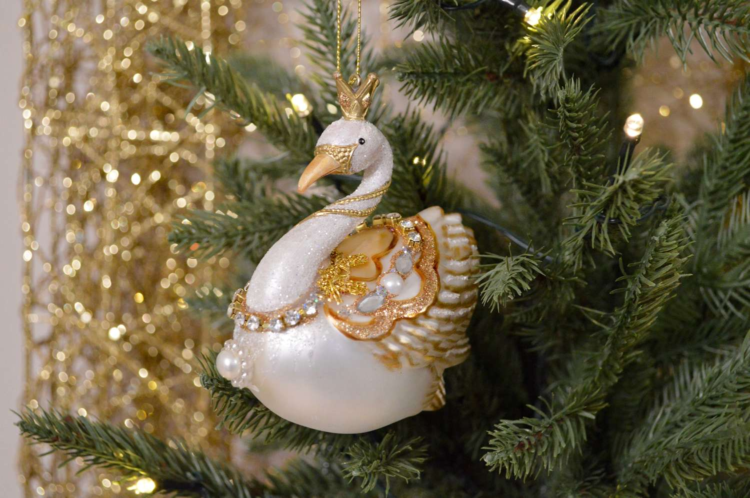 Gisela Graham - Glass Swan With Pearls Decoration