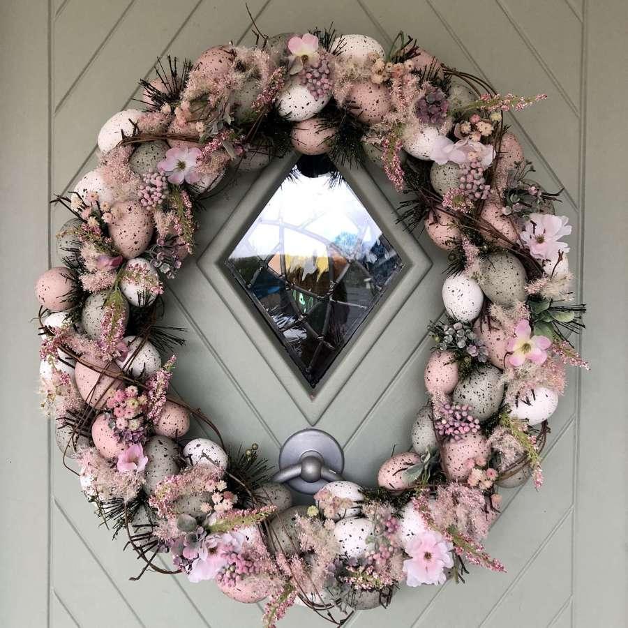 Large Floral Egg Wreath