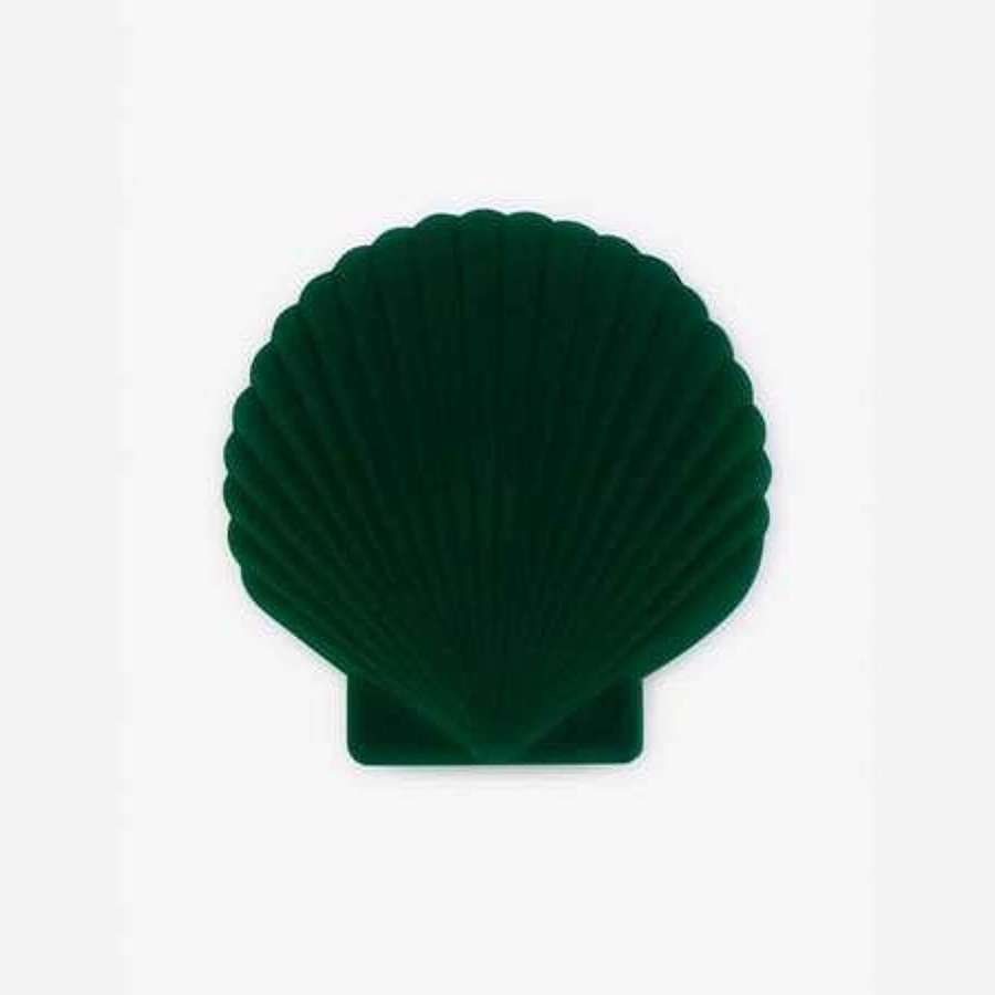 Green Velvet Oyster Shell Jewellery Case