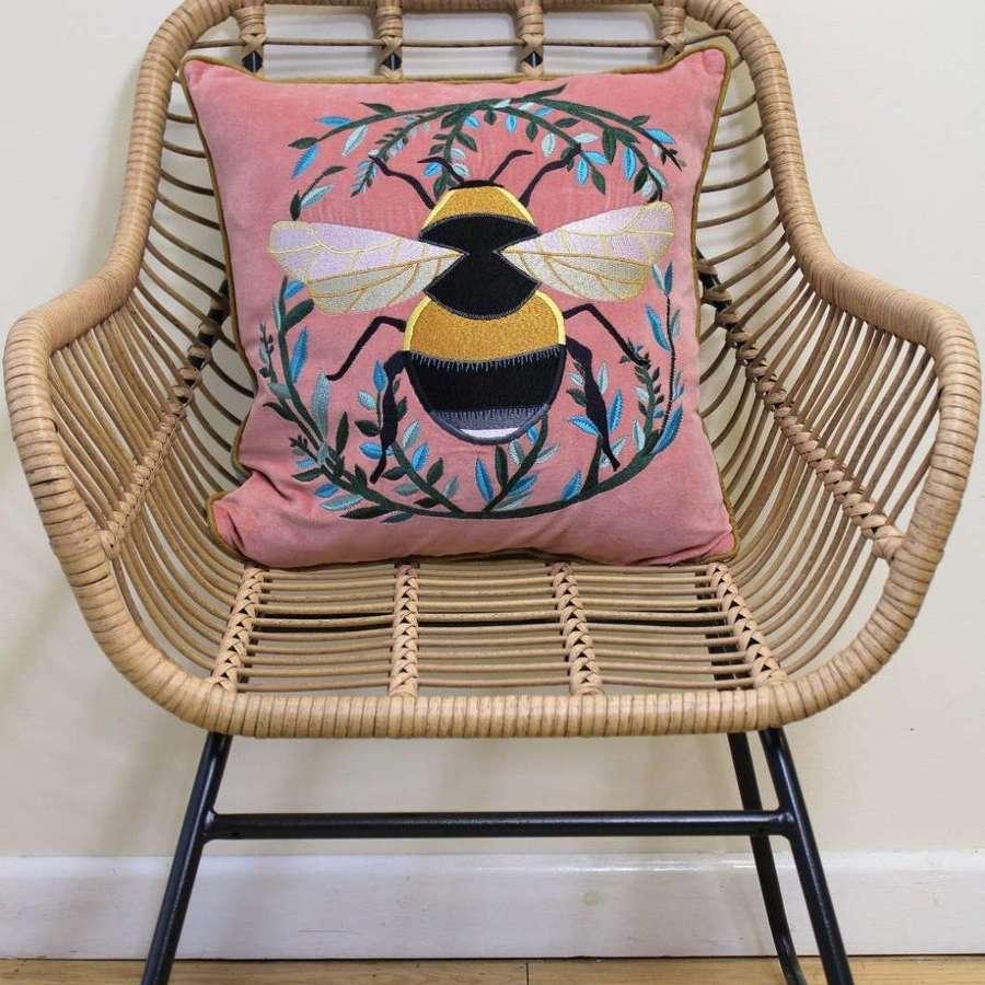 My Doris -Velvet Pink Bumble Bee Cushion