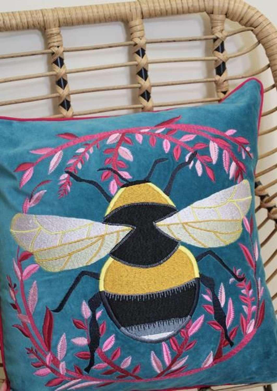 My Doris - Blue Velvet Bumble Bee Cushion