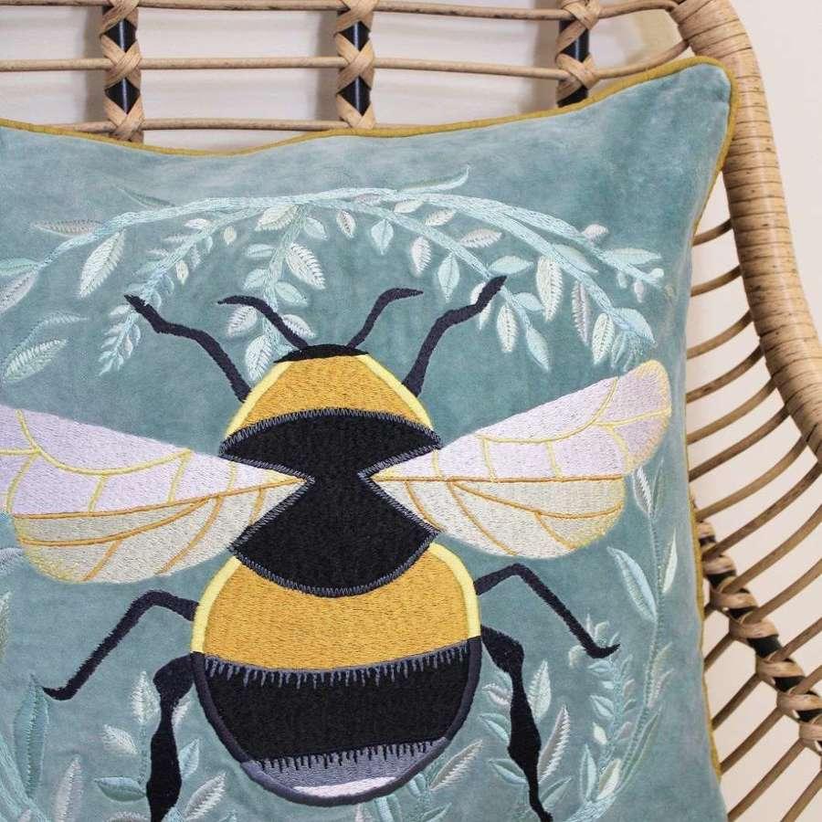 My Doris - Velvet Mint Green Bumble Bee Cushion