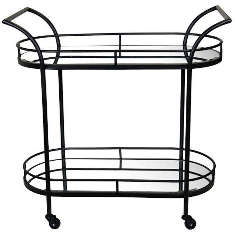 Drinks Trolley - Black with Mirrored Glass