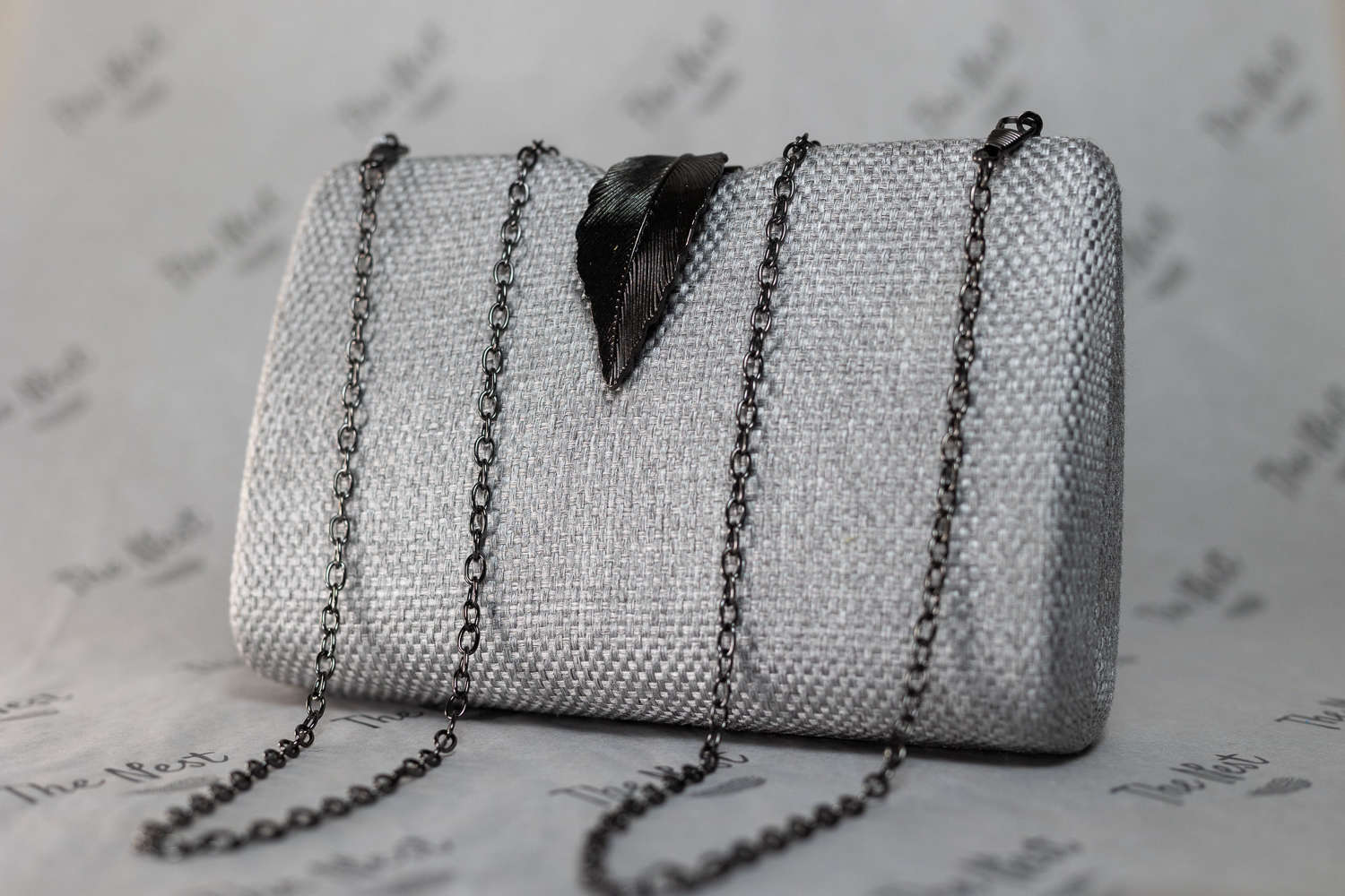 Silver Grey Evening Bag with Metal Clasp.