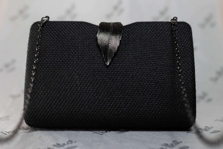 Black Evening Bag with Metal Clasp